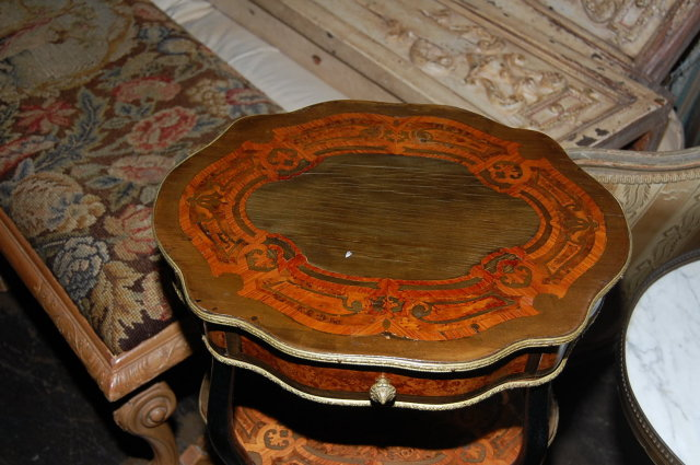 L. Grade French Marquetry Side Table