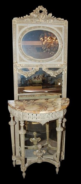 Petite French Louis XVI Mirror & Console Set