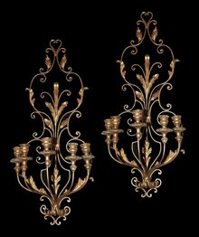 French Tole & Giltwood Sconce