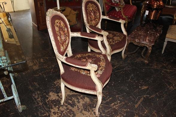 Pair Needlepoint Chairs