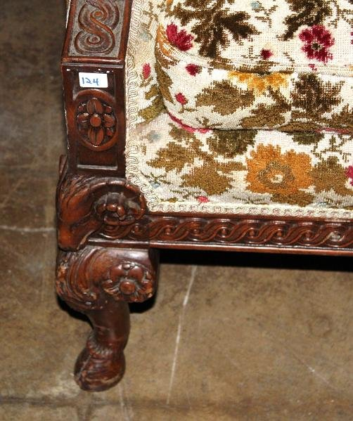 Continental Carved Walnut Sofa