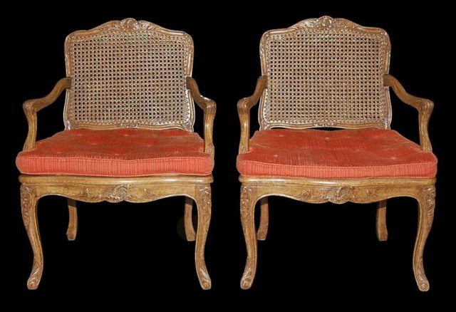 Pair French Caned Armchairs