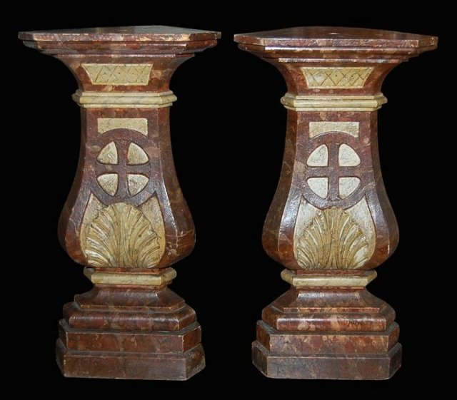Pair French Lacquered Pedestals