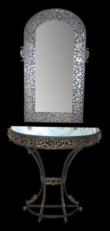 Oscar Bach Art Deco Mirror & Console