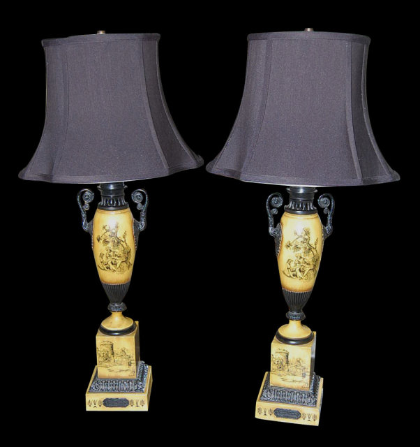 Pair French Tole Painted Lamps
