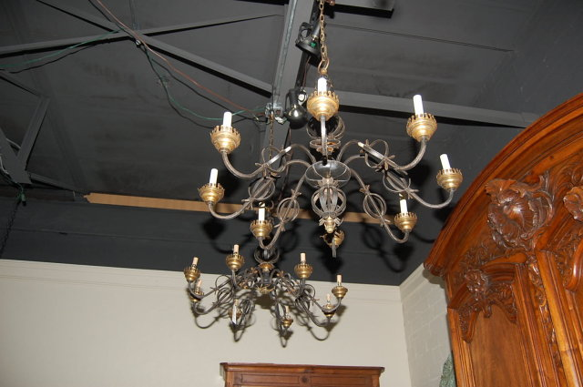 Pair French Iron Chandeliers