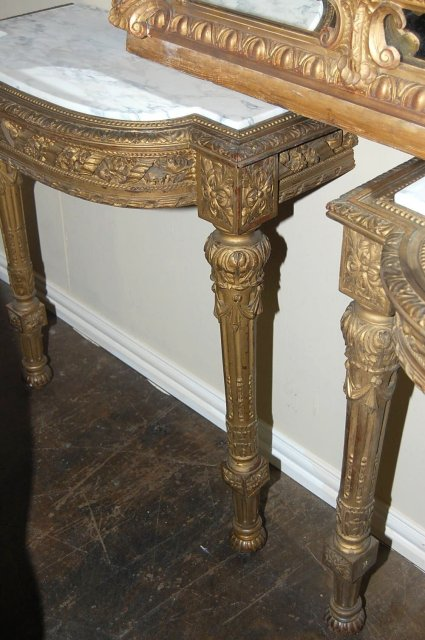 Pair French Giltwood Consoles