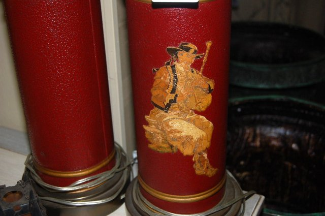 Pair of Antique Tole Painted Lamps
