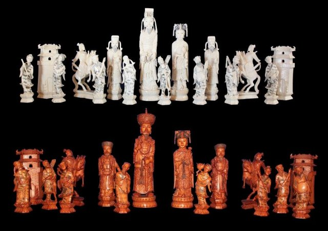 Oriental Carved Ivory Chess Set