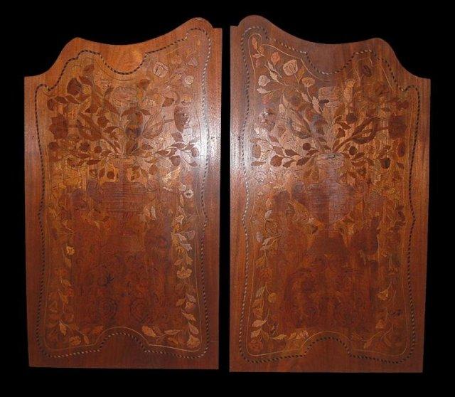 Pair Walnut Inlaid Panels