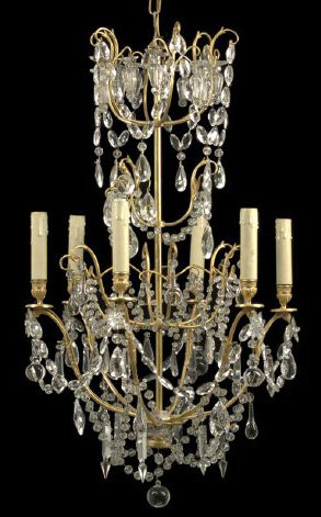 French Gilt Lacquered Brass & Crystal Chandelier