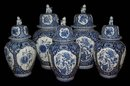 Set of 5 Blue Delfts Ginger Jars