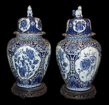 Pair of Blue Delfts Ginger Jars