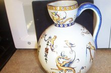 Pair of  1850's Antique Gien Glazed Earthenware Pitchers