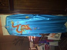 Vintage Turquoise Silk Embroidered Chinese Dragon Robe
