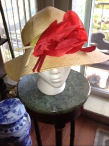 Vintage Straw Hat with Red Flower