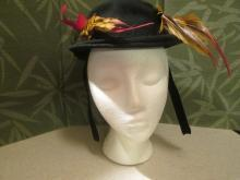 Edwardian Black Felt and Pheasant  Feathers Fall Hat