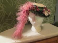 Edwardian Mad Hatter Decorated Black Straw Chapeau