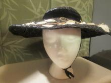 Black Straw Picture Hat with White Leaves