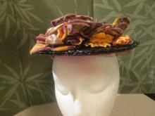 Edwardian Black Straw Hat with Ribbons and Flowers