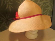 Beige Straw Hat with Red Poppy