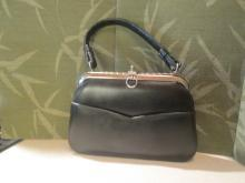 Vintage Black Leather Handbag with Silvertone Hardware