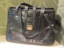 Vintage Black  Leather Accordion Handbag
