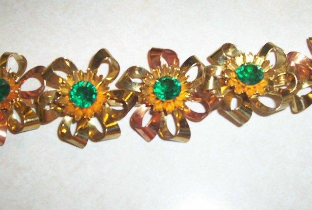 Juliana Type Green Rhinestone and Gold Vermeil Bracelet