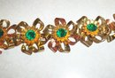Juliana Type Green Rhinestone and Gold Vermeil Bracelet