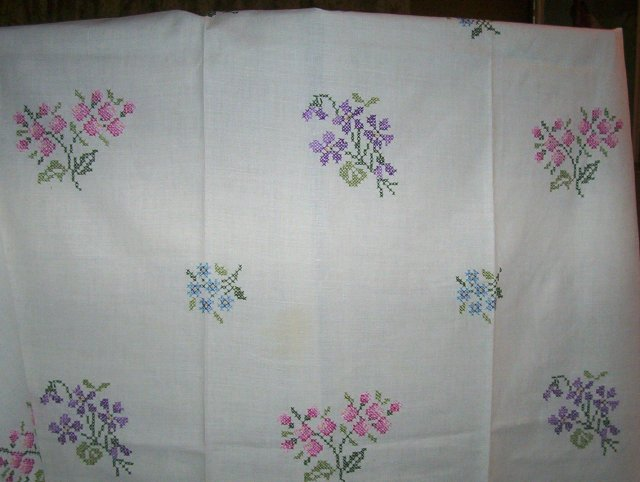 Vintage Cross Stitch Tablecloth