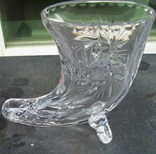 Hand Etched Crystal Cornucopia Vase