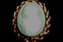 Vintage Green Cameo Pin/Pendant