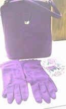 Vintage Purple Suede Handbag, Gloves and Hanky