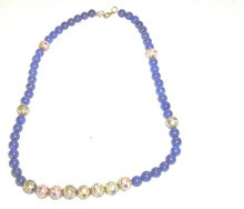 Vintage Lapis and Cloissone Bead Necklace