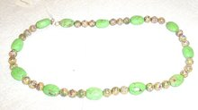 Green Turqoise and Cloissone Bead Necklace