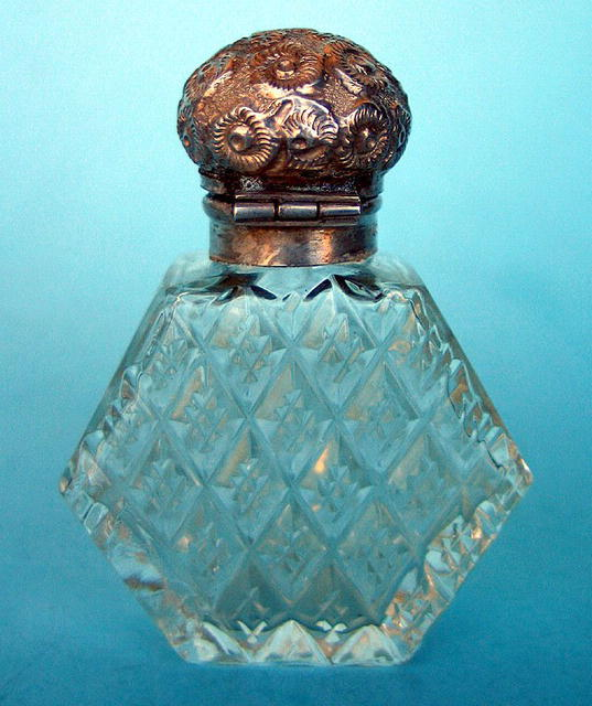 VERY UNUSUAL CUT GLASS & REPOUSSE STERLING SCENT BOTTLE