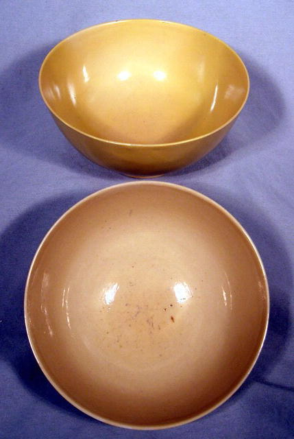 PAIR OF IMPERIAL KANG HSI YELLOW BOWLS MARK & PERIOD