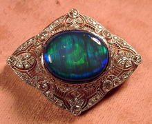 ELEGANT FILIGREE BROOCH 180 DIAMONDS BLACK OPAL 1910