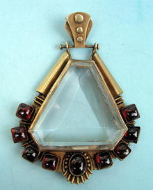 BEAUTIFUL AESTHETIC PERIOD 14K PENDANT CABOCHON  GARNET