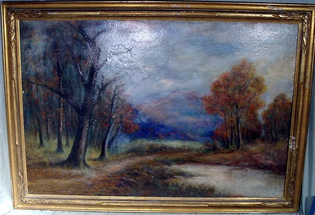 WALTER KOENIGER OIL PAINTING LISTED ARTIST RIVER STREAM