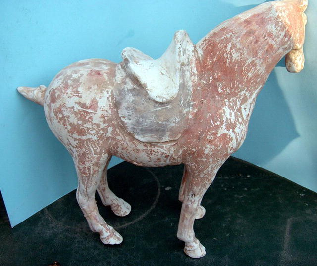 TANG HORSE WITH SADDLE MUCH ORIGINAL COLOR SUPERB!