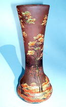 RICHARD / LOETZ ENAMELED CAMEO GLASS VASE FALL WOOD