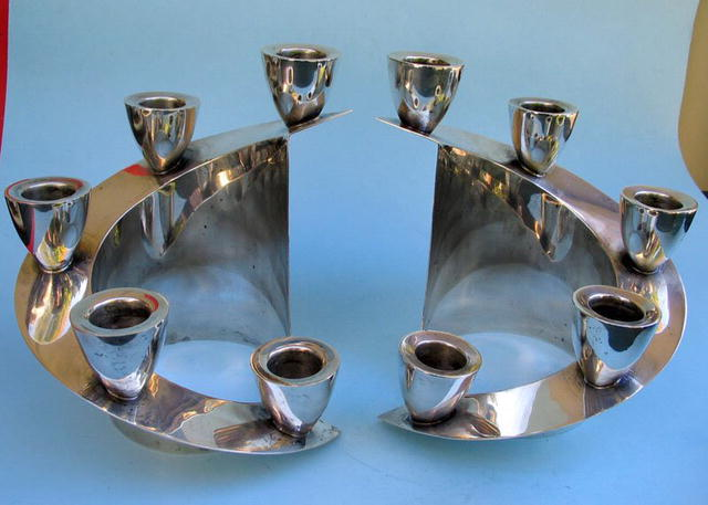 HEAVY MEXICAN STERLING MOD CANDELABRAS EAGLE MARKED
