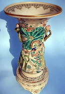 LARGE KINKOZAN HIGH RELIEF VASE WITH BASE SATSUMA