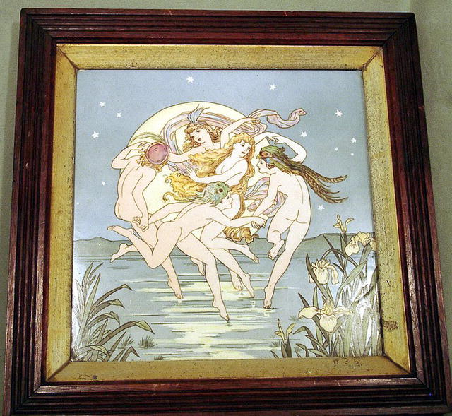 TREMENDOUS MINTONS ART NOUVEAU PLAQUE HAND PAINTED