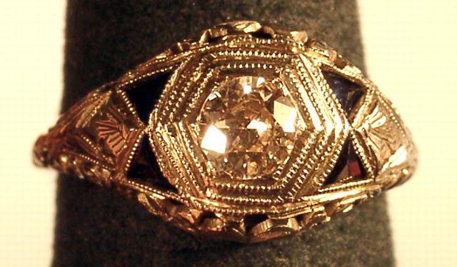 FILIGREED 14K WHITE GOLD .80 CARAT DIAMOND 4 SAPPHIRES