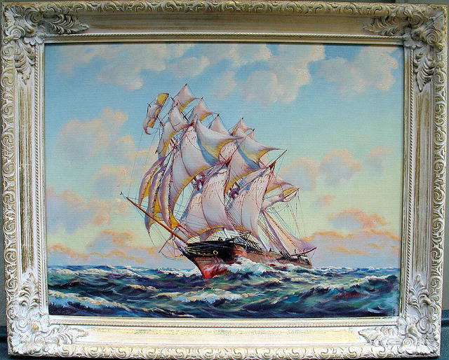 FABULOUS PAINTING BY G H WHEATLEY OF SHIP UNDER SAIL