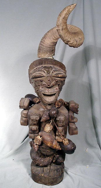 SONGYE FETISH / POWER FIGURE ZAIRE LARGE RAMS HORN 1900