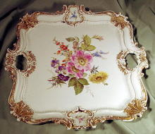 MASSIVE SQUARE MEISSEN HANDLED PLATTER EARLY