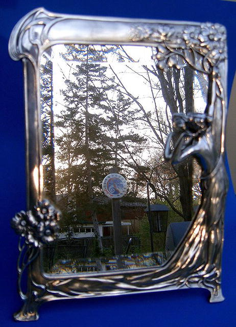 OUTSTANDING PEWTER ART NOUVEAU MIRROR ROYAL DUTCH